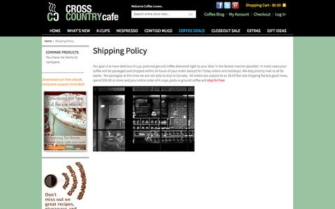 Screenshot of Support Page crosscountrycafe.com - Shipping Policy - captured Sept. 23, 2014