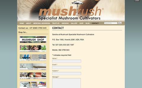 Screenshot of Contact Page mushrush.co.za - CONTACT MUSHRUSH - captured Sept. 30, 2014