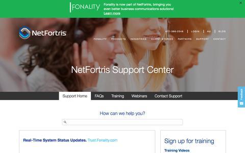 Screenshot of Support Page netfortris.com - Customer Support | NetFortris.com - captured Nov. 9, 2017