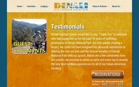 Screenshot of Testimonials Page denalioutdoorcenter.com - Denali Outdoor Center - Real testimonials from adventurers! - captured Aug. 1, 2016