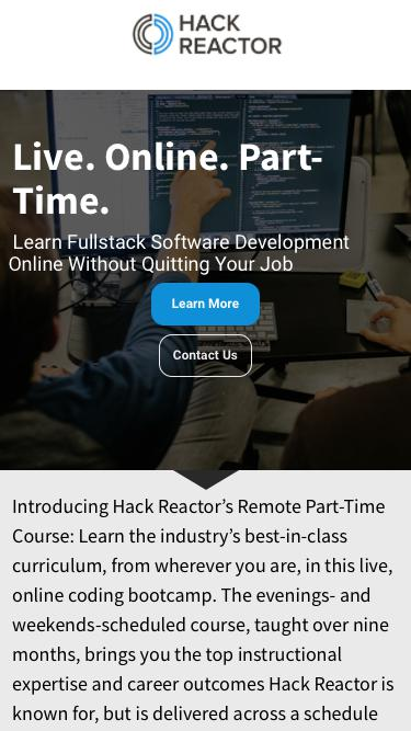 Hack Reactor Remote Part Time  |  Learn JavaScript