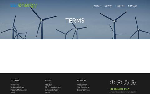 Screenshot of Terms Page sscenergy.co.uk - Terms - SSC Energy - captured Jan. 23, 2016