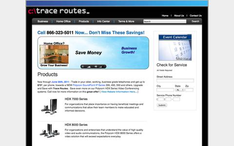 Screenshot of Products Page tracerts.com - Products - Trace Routes - captured Oct. 6, 2014