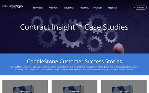 Screenshot of Case Studies Page cobblestonesoftware.com - Contract Insight Case Studies  | CobbleStone Software - captured Nov. 7, 2018
