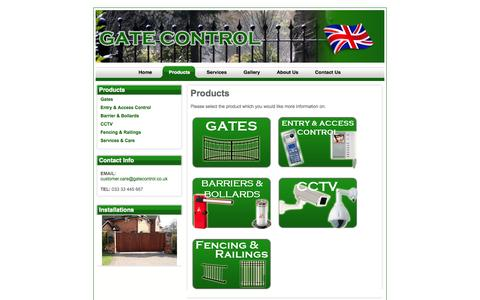 Screenshot of Products Page gatecontrol.co.uk - View the whole range of products and services on offer by Gate Control - Products - captured Oct. 2, 2014