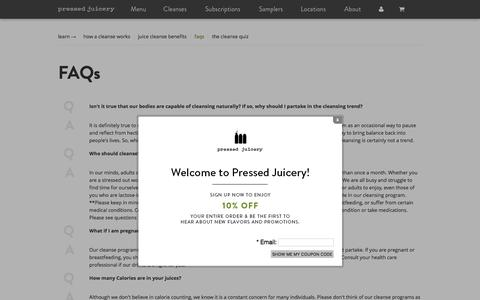 Pressed Juicery - FAQs Cleanse/Weight Loss/Organic/Calories/Prices