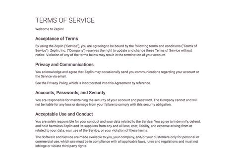 Screenshot of Terms Page zeplin.io - Terms of Service - Zeplin - captured Nov. 17, 2015