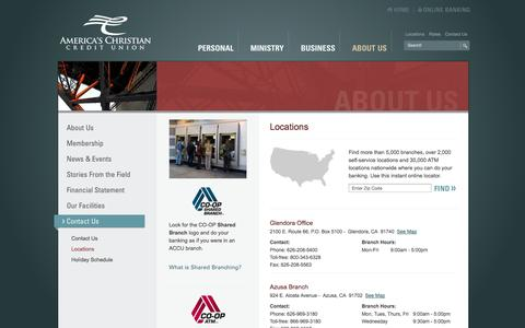 Screenshot of Locations Page americaschristiancu.com - Locations & Hours | America's Christian Credit Union (ACCU) - captured Oct. 4, 2014