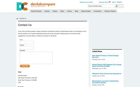 Screenshot of Contact Page dentalcompare.com - Contact Us  | Dentalcompare: Top Products. Best Practices. - captured July 13, 2018