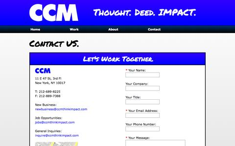 Screenshot of Contact Page ccmthinkimpact.com - CCM - Thought. Deed. IMPACT. | Contact - captured Oct. 1, 2014