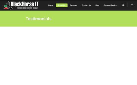 Screenshot of Testimonials Page blackhorseit.com - Testimonials - IT Support Dubai - BlackHorse IT - captured Oct. 10, 2017