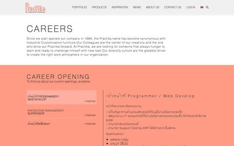Screenshot of Jobs Page practika.com - Careers in Practika, Industrial Customized Furniture - captured Sept. 29, 2018
