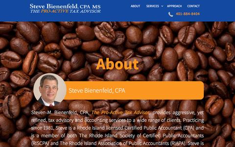 Screenshot of About Page sbeancpa.com - Steve Bienenfeld, CPA | Small Business & Personal Tax Solutions | RI - captured Feb. 15, 2016