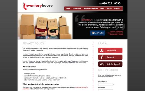 Screenshot of Privacy Page inventoryhouse.co.uk - Privacy Policy for Property Inventories | Inventory House - captured Sept. 30, 2014
