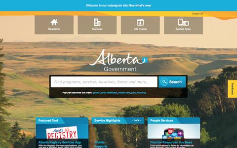 Screenshot of Services Page alberta.ca - Government of Alberta - Programs and Services - captured Sept. 18, 2014