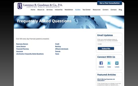 Screenshot of FAQ Page lbgcpas.com - Fair Lawn, New Jersey Accounting Firm | Frequently Asked Questions Page | Lawrence B. Goodman & Company - captured Oct. 2, 2014
