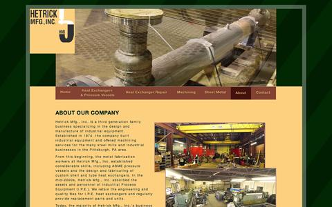 Screenshot of About Page hetrickmfg.com - Hetrick Mfg., Inc. | About Us - captured Oct. 2, 2014
