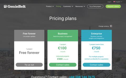 Screenshot of Pricing Page geniebelt.com - Pricing - GenieBelt - captured Sept. 16, 2018