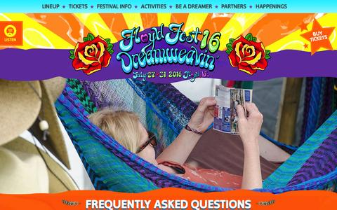 Screenshot of FAQ Page floydfest.com - Frequently Asked Questions - Floydfest 16 | July 27-31, 2016 - captured Feb. 19, 2016