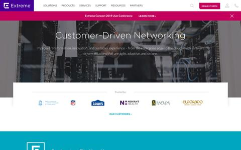Screenshot of Home Page extremenetworks.com - Customer-Driven Enterprise Networking Solutions - Extreme Networks - captured Feb. 5, 2019