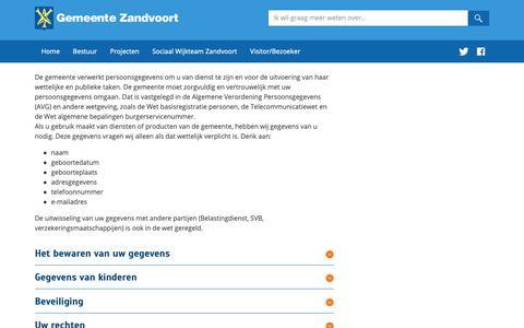 Screenshot of Privacy Page zandvoort.nl - Privacy | Zandvoort - captured Sept. 27, 2018