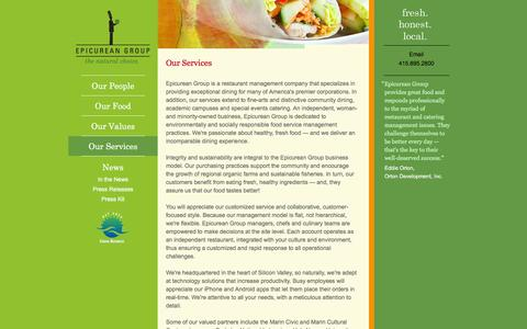 Screenshot of Services Page epicurean-group.com - Epicurean Group | Our Services - captured Dec. 10, 2015