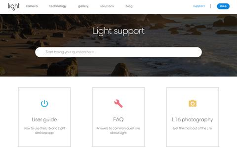 Screenshot of Support Page light.co - Light support  | Light - captured July 22, 2018