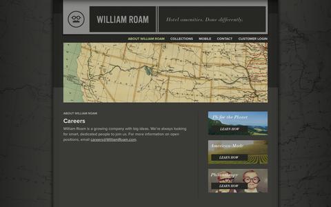 Screenshot of Jobs Page williamroam.com - Careers - William Roam - captured Oct. 26, 2014