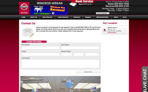 Screenshot of Contact Page windsornissan.com - Contact Information - Windsor Nissan - captured Oct. 7, 2014