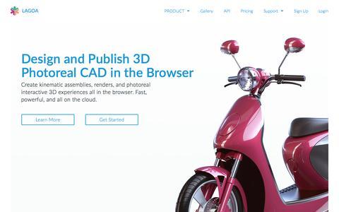Screenshot of Home Page lagoa.com - LAGOA   Cloud-based 3D Design and Publishing - captured June 16, 2015