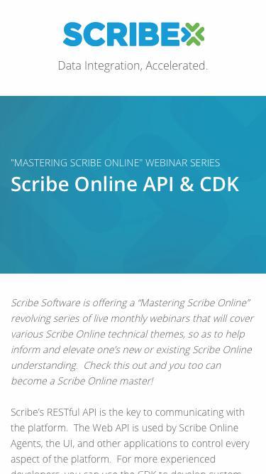 Registration   On-Demand Webinar - Mastering Scribe Online: Scribe Online API & CDK   Scribe Software