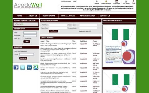 Screenshot of Home Page acadawall.com - Acadawall | Contact databases, leads, mailing and marketing list | Home Page - captured Oct. 4, 2014