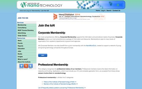 Screenshot of Signup Page nano.org.uk - Join the Institute - Institute of Nanotechnology - captured Oct. 6, 2014