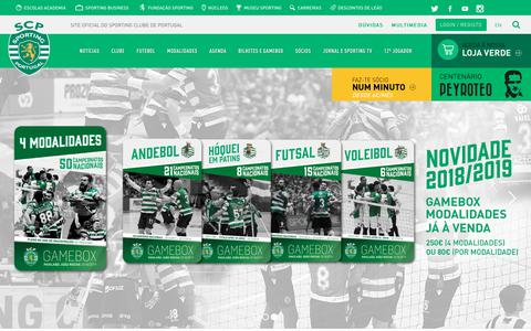Screenshot of Home Page sporting.pt - HOME | Site oficial do Sporting Clube de Portugal - captured Sept. 23, 2018