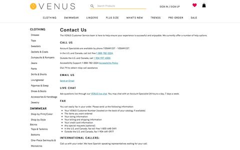 Screenshot of Contact Page venus.com - Contact VENUS® Online or by Phone - captured Feb. 8, 2020
