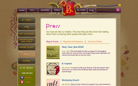 Screenshot of Press Page mybtoys.com - Press | B. toys - captured Oct. 30, 2014