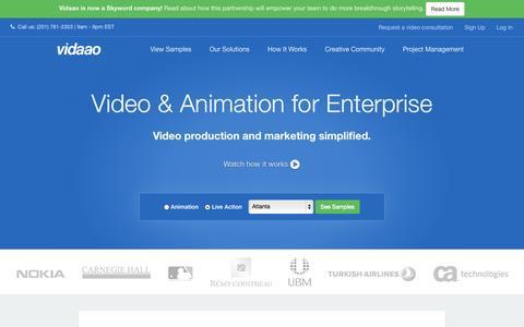 Screenshot of Home Page vidaao.com - Video Production | Vidaao - captured Sept. 17, 2014