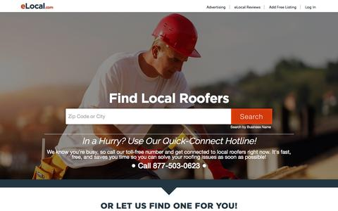 Screenshot of Home Page elocalroofers.com - Find Local Roofers | #1 Roofer Directory | Get Roofing Quotes - captured Jan. 11, 2017