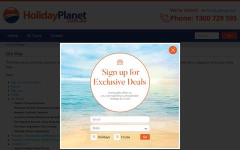Screenshot of Site Map Page holidayplanet.com.au - Site Map | Holiday Planet Australia - captured July 20, 2018