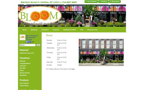 Screenshot of Hours Page bloomfloristbuffalo.com - Hours : Buffalo NY Florist : Same Day Flower Delivery for any occasion - captured Nov. 2, 2014