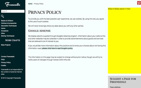 Screenshot of Privacy Page freeneedle.com - Privacy Policy - Freeneedle : Freeneedle - captured Sept. 29, 2015