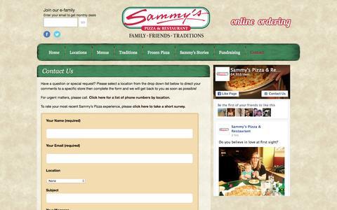 Screenshot of Contact Page mysammys.com - Contact Us | Sammy's Pizza & Restaurant | Sammy's Pizza - captured Feb. 4, 2016