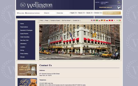 Screenshot of Contact Page wellingtonhotel.com - Contact information for Wellington Hotel in New York City, New York - captured Sept. 23, 2014