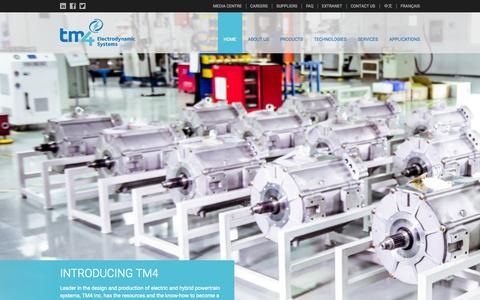 Screenshot of Home Page tm4.com - TM4 - Electric and hybrid powertrain systems - captured June 17, 2015