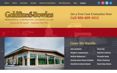 Screenshot of Contact Page goldfineandbowles.com - Contact | The Law Offices of Goldfine & Bowles, P.C. | Peoria, Illinois - captured Sept. 29, 2018