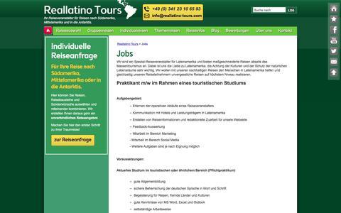 Screenshot of Jobs Page reallatino-tours.com - Reallatino Tours - Jobs - Aktuelle Stellenangebote - captured Jan. 10, 2016