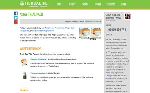 Screenshot of Trial Page cbnutrition.co.uk - 3 Day Trial Pack - Carla Bent and Dave Westwood's Herbalife Shop - captured Sept. 26, 2014