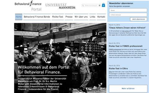 Screenshot of Home Page behavioral-finance.de - Behavioral Finance Portal - captured March 24, 2016