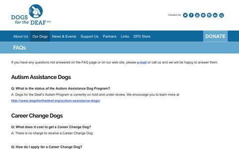 Screenshot of FAQ Page dogsforthedeaf.org - FAQs - Dogs for the Deaf - captured Nov. 24, 2016