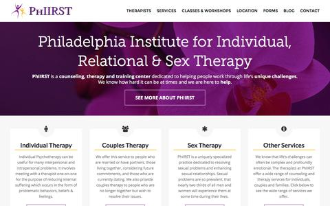 Screenshot of Home Page phiirst.com - Individual, Relational & Sex Therapy | Philadelphia - captured Jan. 28, 2016